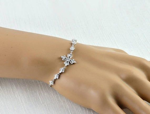 Cubic Zirconia Silver Bridal Wedding Bracelet