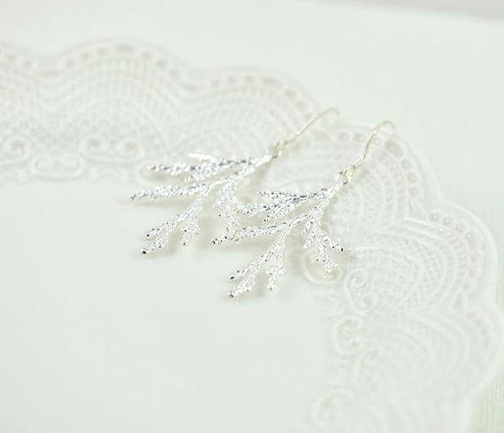Simple Elegant Leaf Drop Silver Earrings