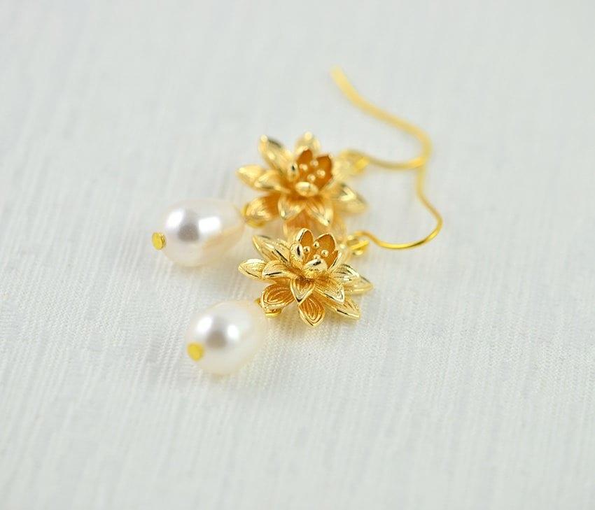 Gold Floral Swarovski Pearl Lotus Flower Earrings Bridesmaids Pearl