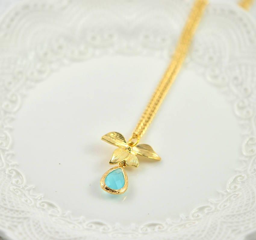 Simple Gold Turquoise Drop Necklace Teardrop Pendant