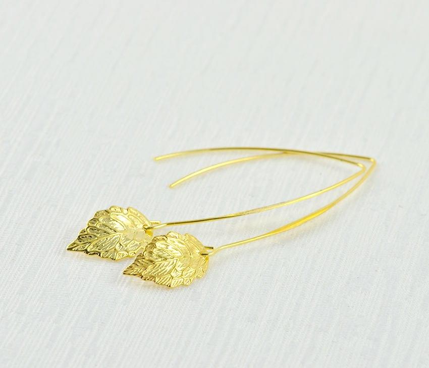 Leaf Drop Gold Earrings - Bridesmaids Earrings, Gold Leaf Simple light  Weight Long Dangle Everyday Earrings, Gold Jewellery, Drop Earrings