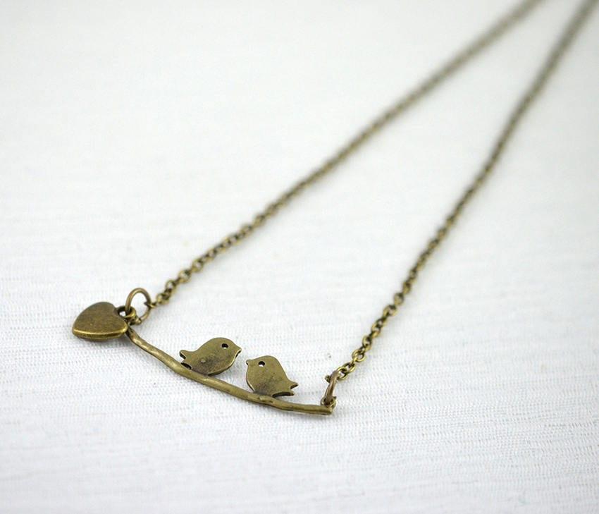 Bird on branch pendant necklace bronze