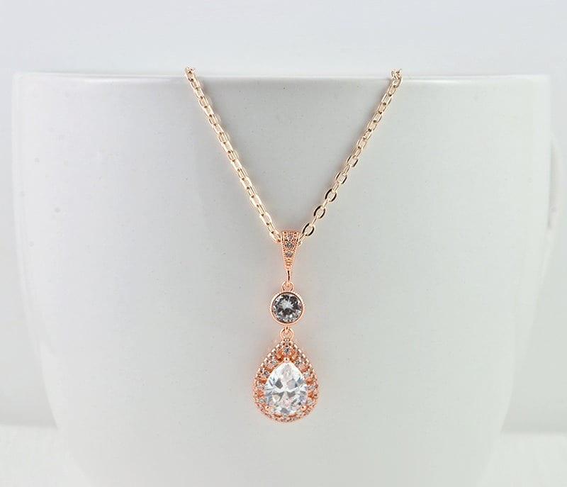 Glamarous Rose Gold Bridal Teardrop Necklace Wedding M20