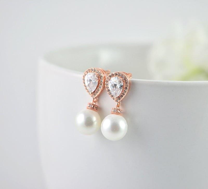 a66bdb765 Rose Gold Bridal Pearl Earrings, Cubic Zirconia Crystal Earrings Wedding  Jewellery, Swarovski Rose Gold Classic Dangle Stud Pearl Earrings