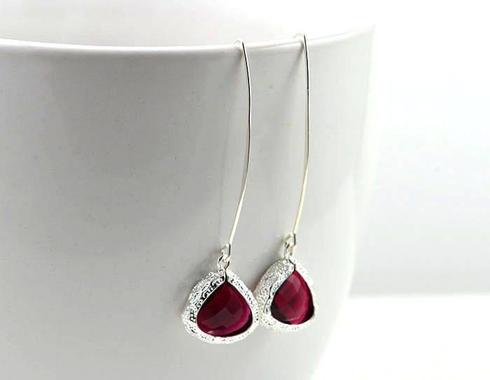 711af29bb9 Silver Ruby Long Earrings, Red Bridesmaids Earrings, Ruby Drop Triangle  Earrings, Long Dangle Earrings, Ruby Silver Jewellery, Red Earrings