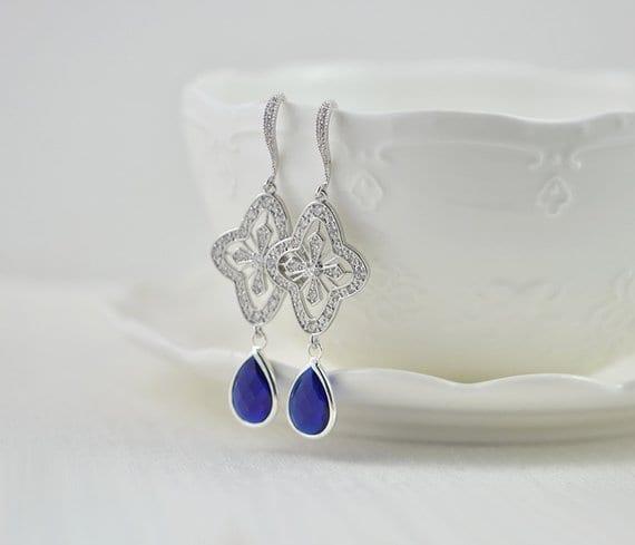 Bridal Silver Drop Sapphire Dark Blue Wedding Earrings