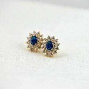 Gold Stud Earrings Royal Blue sapphire bridal wedding earrings