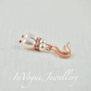 Swarovski Pearl Crystal Rose Gold Bridal Wedding Earrings