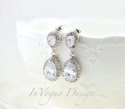 Elegant Bridal Silver Cubic Zirconia Teardrop Wedding Earrings