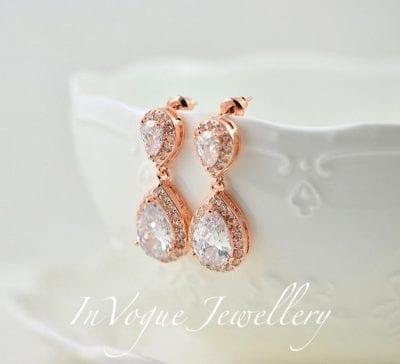 Elegant Bridal Rose Gold Cubic Zirconia Teardrop Wedding Earrings
