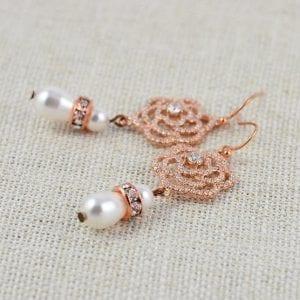 Crystal Cubic Zirconia & Swarovski Pearl Rose Gold Floral Bridal Earrings