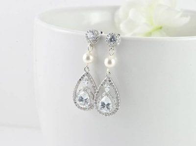Classic Silver Bridal Pearl Cubic Zirconia Swarovski Drop Earrings Wedding Jewellery