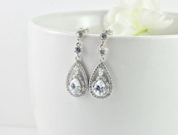 Elegant Drop Silver Cubic Zirconia Crystal Bridal Wedding Earrings