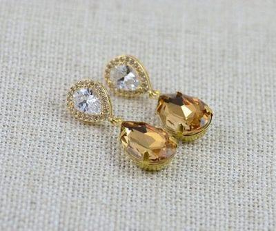Gold Topaz Cubic Zirconia Teardrop Bridal Wedding Earrings