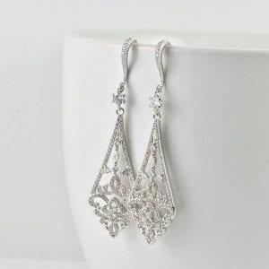 Rose Gold Bridal Bridesmaid Dangle Diamond Shape Wedding Crystals Earrings
