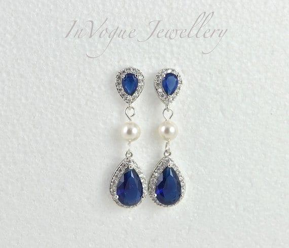 e1f8320cfdb60 Sapphire Teardrop Blue Cubic Zirconia Swarovski Pearls Bridal Wedding  Bridesmaid Earrings Jewellery