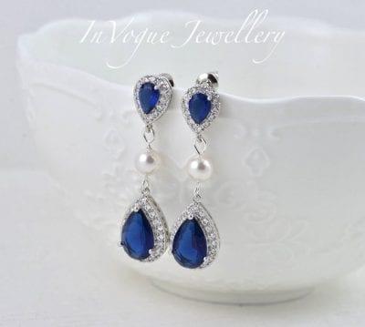 Sapphire Teardrop Blue Cubic Zirconia Swarovski Pearls Bridal Wedding Bridesmaid Earrings Jewellery