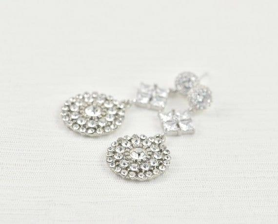 Vintage Silver Bridal Drop Cubic Zirconia Bridal Wedding Earrings Jewellery