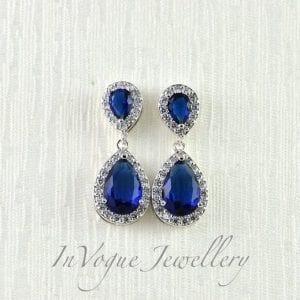 Bridal Silver Drop Blue Sapphire Cubic Zirconia Earrings