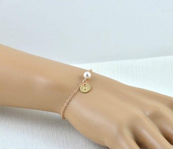 Dainty Rose Gold Swarovski Pearl Engraved Personalised Bracelet