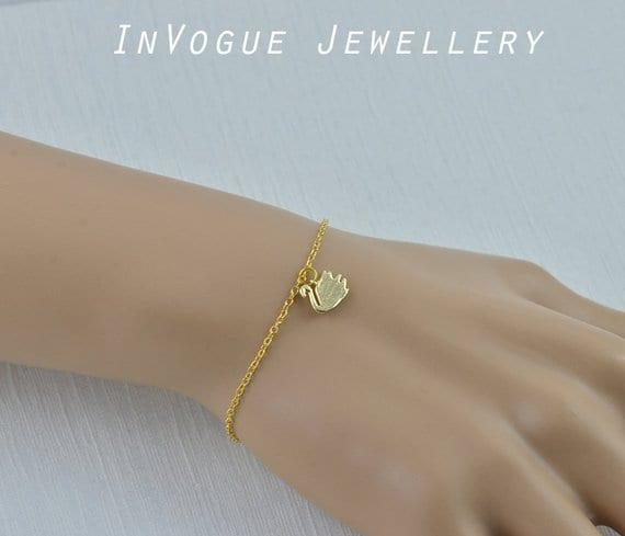 Dainty Swan Simple Gold Personalised Engraved Bracelet Jewellery