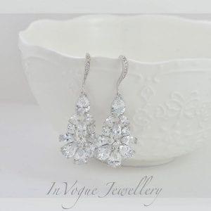 Elegant Silver Crystal Cubic Zirconia Drop Wedding Bridal Earrings