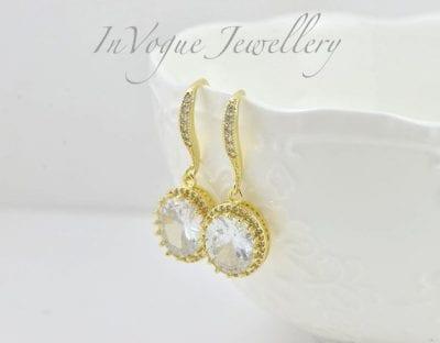 Gold Cubic Zirconia Drop Bridal/Bridesmaid Wedding Earrings