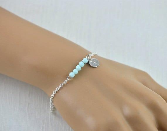 Personalised Silver Dainty Letter Turquoise Gemstone Flower Girl Bracelet Jewellery