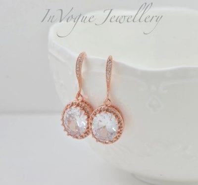 Rose Gold Cubic Zirconia Drop Bridal/Bridesmaid Wedding Earrings