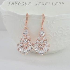 Rose Gold Cubic Zirconia Crystal Bridal & Wedding Earrings
