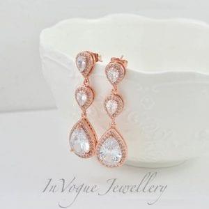 Rose Gold Long Crystal Zirconia Drop Bridal Wedding Earrings