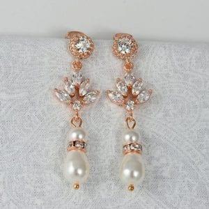 Rose Gold Swarovski Pearl Earrings Wedding Bridal Jewellery