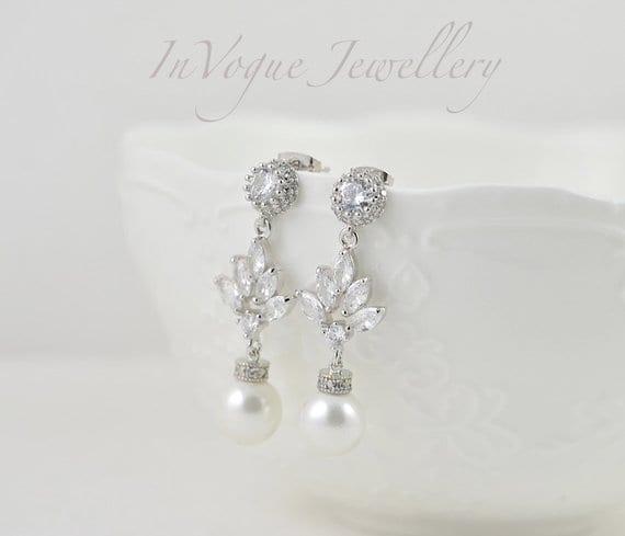 Silver Bridal Earrings Pearl Teardrop Wedding Jewellery Earrings