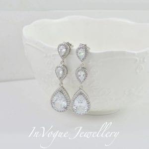 Silver Cubic Zirconia Bridal Wedding Drop Earrings