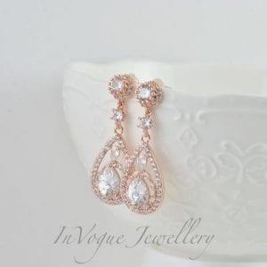 Teardrop Rose Gold Cubic Zirconia Crystal Bridal Wedding Earrings