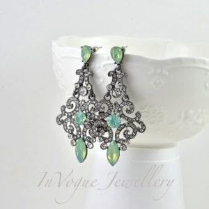 Vintage Style Drop Sea Green Opal Rhinestone Drop Bridal Earrings