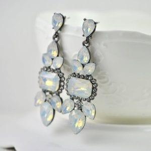 Vintage Style Drop White Opal Cluster Rhinestone Bridal Earrings