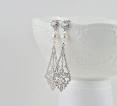 Silver Bridal Bridesmaid Dangle Diamond Shape Wedding Crystals Earrings