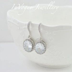 Silver Cubic Zirconia Drop Bridal/Bridesmaid Wedding Earrings