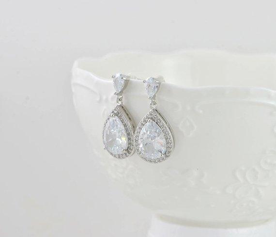 Bridesmaid Teardrop Dangle Silver Wedding Earrings Jewellery