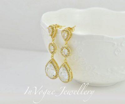 Gold Halo Style Teardrop Bridal Bridesmaid Wedding Earrings