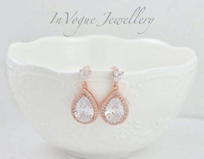 Rose Gold Cubic Zirconia Crystal Bridal Wedding Earrings