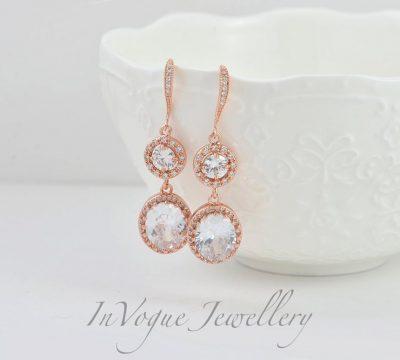 Rose Gold Halo Crystal Dangle Bridal Bridesmaid Wedding Earrings
