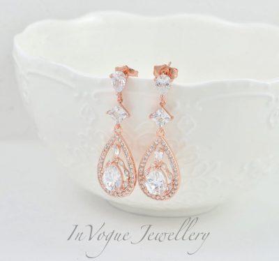 Rose Gold Long Drop Crystal Bridal Bridesmaid Wedding Earrings