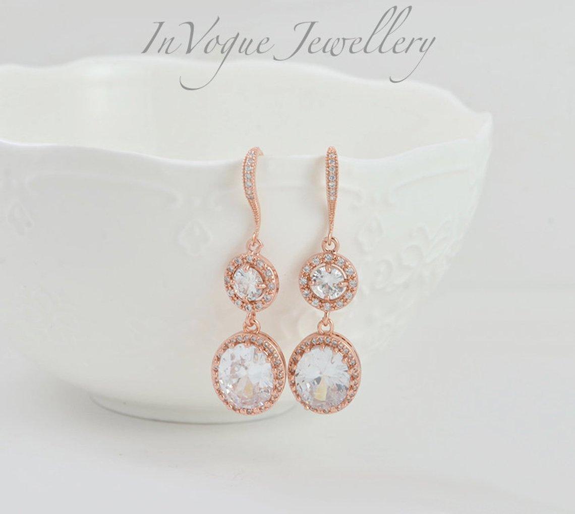 Rose Gold Dangle Halo Style Crystal Bridal Wedding Brides Earrings