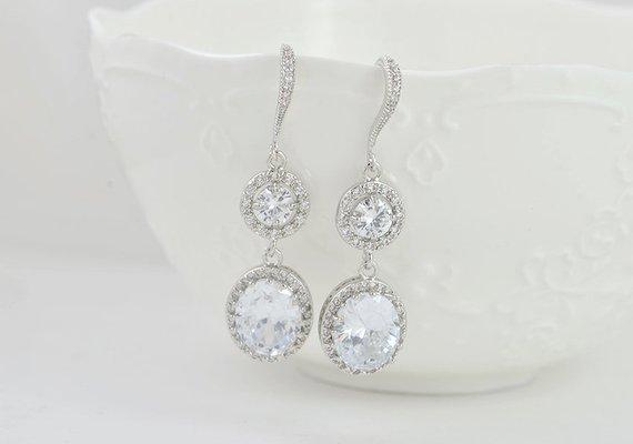 Silver Dangle Halo Style Crystal Bridal Wedding Brides Earrings