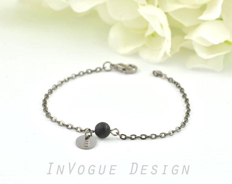 17e02dfa83ab3 Dainty Black Lava Stone Bracelet - Aromatherapy Diffuser Essential Oils